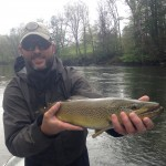 "JD caught this 24"" Watauga river brown trout on a dry fly with Huck"