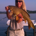 Missy with a Boone lake carp with Jon