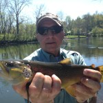 Pete with a 16 inch watauga river brown on a caddis.