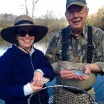 Diane and Jim fishing with Huck