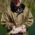 Jim fishing the Watauga river with Huck