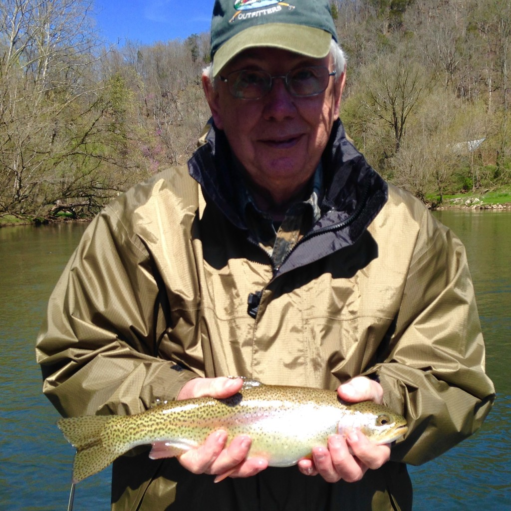 Jim with a Watauga river rainbow trout