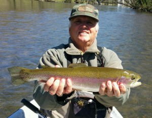 Tony with a nice Watauga river rainbow trout
