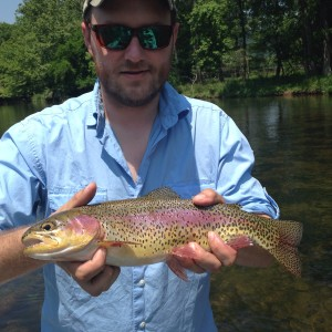 Cameron with a 17 inch Watauga river rainbow trout