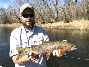 Clint with a nice Watauga river rainbow trout