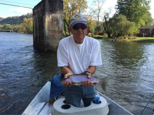 Jon caught this 17 inch Watauga river rainbow fishing with Clint